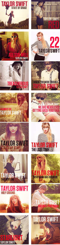 Target, Taylor Swift, and Tumblr: TAVIOR SWIFT  STATE OF GRACE  TAYLOR SWIFT  RED  TAYLOR SWIFT   ERETROUBLE  TACHEROS TAYLOR SWIFT  TAYLOR SWFT  ALMOST  TAYLOR SWIFT  WE ARE NEVER EVER  GETTING BACK TOGETHER   TAYLOR SWIFT TA  THE  ALOR SWIFT  ALOR  THE LUCKYONE  TAVLOR SWIFT  EVERYTHING HAS CHANGED   TAYLOR SWIFT  HOLY GROUND  TAYLOR SWIFT  STARLIGHT  TAYLOR SWIR withouroldfriends-blog:  Taylor Swift - Red Tracklist Album Art