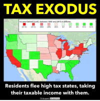 "Amazon, America, and Irs: TAX EXODUS  ITISH  UMBIA  Income Gained (Lost), between 1992 and 2015 in billions:  ($15)  ($12)  ($8) ($5) ($2)  $2  $5  $8  $12  $15  NORTH  DAKOTA  NB  NNESO  Montr  Ottawa  SOUTH  VISCON  NOV  Toronto  DAKO  OREGON  DAHO  NEBRASKA  PENN  Unite  States  iladelphia  NEVADA  LORADO  San  KANSAS  SSOUR  LIFORN  s Vegas  NORTH  ENNESSEE  AROL  geles  ARIZONA  TEXAS  EORG  On  FOR  Gulf of  Residents flee high tax states, taking  their taxable income with them.  biased America, HIGH TAX RATES ARE DECIMATING STATE ECONOMIES AND LEADING TO A WEALTH EXODUS IN AMERICA by Kevin Ryan  It's a simple concept that has eluded many politicians and ideologues, especially on the left.  When you raise taxes, people and businesses will leave, bringing with them those taxable incomes your government depends on.  One look at the migration patterns within the United States verifies just that.  A book on the subject, How Money Walks, uses official statistics from the Census and the IRS to explore the subject.  It found that, between 1995 and 2010:  • The nine states with no personal income taxes gained $146.2 billion in working wealth • The nine states with the highest personal income tax rates lost $107.4 billion • The 10 states with the lowest per capita state-local tax burdens gained $69.9 billion • The 10 states with the highest per capita state-local tax burdens lost $139 billion  According to the authors, ""The states that gained working wealth are growing and thriving. The states that lost working wealth lost their most precious cargo—their tax base—and the consequences are dire: stagnation, deterioration, an economic death spiral as they continue to raise taxes and lose people, businesses, and working wealth. The numbers don't lie.""  Its website includes a fascinating interactive map that shows where people and their money moved to, on a state and even county basis, here:  http://www.howmoneywalks.com/irs-tax-migration/ (Note: the interactive map doesn't work on the Safari browser, so iOS users should view it on the Puffin app instead).  Another website by the authors includes a calculator that will tell you the tax implications of moving from your current state to a different one, here: http://www.savetaxesbymoving.com/  SOURCES: http://www.howmoneywalks.com https://www.amazon.com/How-Money-Walks-Trillion-ebook/dp/B00B12U5BK/"