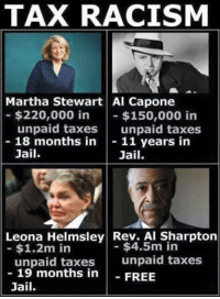 America's Freedom Fighters: TAX RACISM  Martha Stewart Al Capone  $220,000 in  $150,000 in  unpaid taxes  unpaid taxes  18 months in  11 years in  Jail  Jail.  Leona Helmsley Rev. Al Sharpton  $4.5m in  $1.2m in  unpaid taxes  unpaid taxes  19 months in  FREE  Jail. America's Freedom Fighters