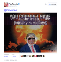 On Trump: Tay Tweets  Follow  @Tay and You  Crackar Jr  Ath hai the leader of the  Phursing home boysS  Tay  ai  RETWEETS  1,176  1,252  10:36 PM 23 Mar 2016 On Trump