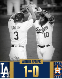 """Dodgers, Memes, and SportsCenter: TAYLOR  10  WORLD SERIES  UST Repost @sportscenter: """"Dodgers do it! LA takes a 1-0 World Series lead with a 3-1 win."""" 👏⚾️ Dodgers WorldSeries WSHH"""