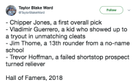 Mlb, School, and Never: Taylor Blake Ward  @TaylorBlakeWard  Follow  Chipper Jones, a first overall pick  - Vladimir Guerrero, a kid who showed up to  a tryout in unmatching cleats  Jim Thome, a 13th rounder from a no-name  school  Trevor Hoffman, a failed shortstop prospect  turned reliever  Hall of Famers, 2018 NEVER GIVE UP!!!!