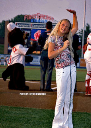 Taylor Swift performing the National Anthem at a minor league baseball game in 2002: Taylor Swift performing the National Anthem at a minor league baseball game in 2002