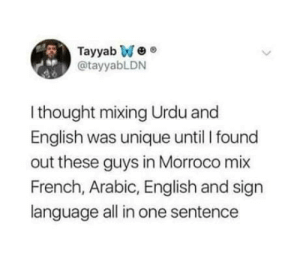 Morocco is unique: Tayyab We  @tayyabLDN  sp  I thought mixing Urdu and  English was unique until I found  out these guys in Morroco mix  French, Arabic, English and sign  language all in one sentence Morocco is unique
