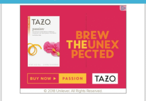 """Tazo may need to work on kerning. Not really sure what """"Theunex"""" is. Or """"Pected."""": TAZO  passion  BREW  THEUNEX  PECTED  BUY NOW  PASSION  9 2O18 Unliever. All RigntS Reserved Tazo may need to work on kerning. Not really sure what """"Theunex"""" is. Or """"Pected."""""""