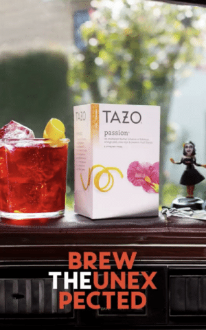 It took me a bit to get this.: TAZO  passion  BREW  THEUNEX  PECTED It took me a bit to get this.