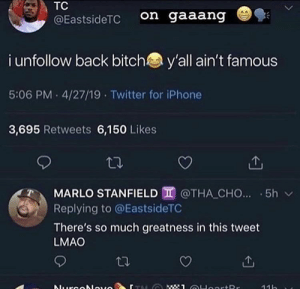 : TC  on gaaang  @EastsideTC  i unfollow back bitch  y'all ain't famous  5:06 PM 4/27/19 Twitter for iPhone  3,695 Retweets 6,150 Likes  MARLO STANFIELD @THA CHO... 5h  Replying to @EastsideTC  There's so much greatness in this tweet  LMAO  : 1 OHoortRr  Nurcolauo  11h