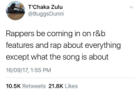 <p>Headasses talking about their hoes on a love song (via /r/BlackPeopleTwitter)</p>: T'Chaka Zulu  @BuggsDunni  Rappers be coming in on r&b  features and rap about everything  except what the song is about  16/09/17, 1:55 PM  10.5K Retweets 21.8K Likes <p>Headasses talking about their hoes on a love song (via /r/BlackPeopleTwitter)</p>