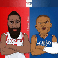 Memes, 🤖, and Tcs: TCS  ROCKETS  OKLAHO Double tap YOUR side. @thatcoolsign Tags: Harden Westbrook MVP