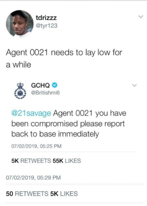 Dank, Memes, and Target: tdrizzz  @tyr123  Agent 0021 needs to lay low for  a while  @Britishmi6  @21savage Agent 0021 you have  been compromised please report  back to base immediately  07/02/2019, 05:25 PM  5K RETWEETS 55K LIKES  07/02/2019, 05:29 PM  50 RETWEETS 5K LIKES For goodness sake 0021 this wa utterly catastrophic for your investigation by infantannihilator123 MORE MEMES