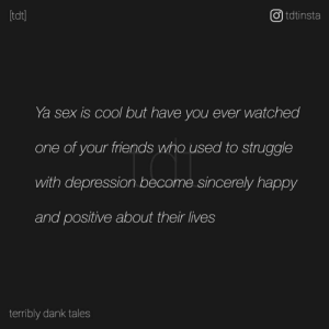 Found it on facebook. This is so true.: tdt]  O) tdtinsta  Ya sex is cool but have you ever watched  one of your friends who used to struggle  with depression become sincerely happy  and positive about their lives  terribly dank tales Found it on facebook. This is so true.