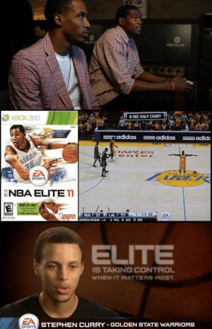 Adidas, Golden State Warriors, and Memes: TE 1  EA ELIT  NBA ELITE  ХВОХ 360  8 SEC HALF COURT  sNU es  FREE  adidas  adidas  adid  SNBA  SPAL  HUNDE  36  TAPC ES  ent er  SPORTS  NBA ELITE  EVERTONME  DISPLAY ONLY  to puchase game  sake thn case  ESHE  to Video Game Cashier s  BOS 61 LAL 55 4 3.15 1  FEATURING  EA  SHRTE  ANDREW BYNUM LAL 2 PTS. O AST. 11REB  ELITE  IS TAKING CONTROL  WHEN IT MATTERS MOST  EA  STEPHEN CURRY GOLDEN STATE WARRIORS  SPORTS Remember NBA ELITE 11?  Original copies sell for up to $10,000! https://t.co/lOtSut0y2g