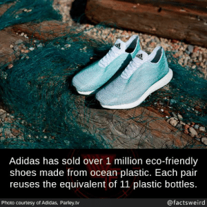 Adidas, Memes, and Shoes: te  Adidas has sold over 1 million eco-friendly  shoes made from ocean plastic. Each pair  reuses the equivalent of 11 plastic bottles.  Photo courtesy of Adidas, Parley.tv  @factsweird