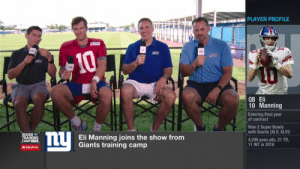 There are definitely some similarities between Eli and @Daniel_Jones10...🧐 #NFLTrainingCamp  📺: @nflnetwork https://t.co/esyZlZ7GhC: te PLAYER PROFILE  10  A0  ОB Eli  10 Manning  Entering final year  of contract  Won 2 Super Bowls  with Giants (XLII, XLVI)  ny  INSIDE  TRAINING  CAMPLIVE  Eli Manning joins the show from  Giants training camp  4,299 pass yds, 21 TD.  11 INT in 2018  AState Farm There are definitely some similarities between Eli and @Daniel_Jones10...🧐 #NFLTrainingCamp  📺: @nflnetwork https://t.co/esyZlZ7GhC