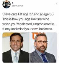 Goals: TEA  @chuuzus  Steve carell at age 37 and at age 56  This is how you age like fine wine  when you're talented, unproblematic,  funny and mind your own business Goals