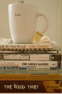 popular-boy:  @vertical@personal@instagram: tea  TWI  ath Be Not Proud John Gunther  ger  ALBERT CAMUS  BRAVE NEW WORLD  ALDOUS HUXLEY  F. SCOTT  FITZGERALD  THE GREAT GATSBY-  Death of a Salesman  BOVER O  The Scarlet Letter  NATHANIEL HAWTHORNE  Introduction by Kathryn Harrison  THE BooK THIEF  knopf popular-boy:  @vertical@personal@instagram