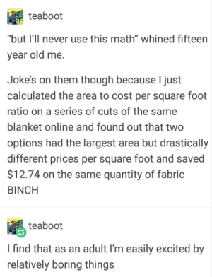"""Useful Math: teaboot  """"but I'llI never use this math"""" whined fifteen  vear old me.  Joke's on them though because I just  calculated the area to cost per square foot  ratio on a series of cuts of the same  blanket online and found out that two  options had the largest area but drastically  different prices per square foot and saved  $12.74 on the same quantity of fabric  BINCH  teaboot  I find that as an adult I'm easily excited by  relatively boring things Useful Math"""