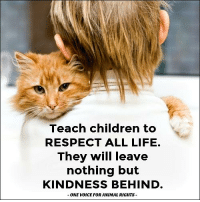 Memes, Animal Rights, and 🤖: Teach children to  RESPECT ALL LIFE.  They will leave  nothing but  KINDNESS BEHIND  ONE WODICE FOR ANIMAL RIGHTS