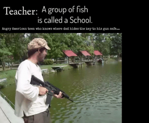 Dad, Reddit, and School: Teacher: A group of fish  is called a School.  Angry American teen who knows where dad hides the key to his gun safe... All the other fish with the pumped up kicks