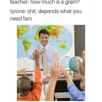 Shit, Teacher, and How: teacher: how much is a gram?  tyrone: shit, depends what you  need fanm Tyrone da plug