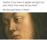 "Target, Teacher, and Tumblr: Teacher: If you have 12 apples and give 6 to  your friend, how many do you have?  Me (through tears): A friend <p><a href=""http://lolfunnyhumor.tumblr.com/post/155821547421"" class=""tumblr_blog"" target=""_blank"">lolfunnyhumor</a>:</p><blockquote><p><a href=""http://what-did-i-just-post.tumblr.com"" target=""_blank""></a></p></blockquote>"