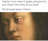 Lmao, Teacher, and MeIRL: Teacher: If you have 12 apples and give 6 to  your friend, how many do you have?  Me (through tears): A friend meirl #meirl #lmao