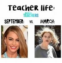 Bored, Life, and Struggle: TeacheR life  TEACHERS  SEPTEMBER: vs MARCH  BORED The struggle is real.