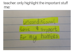 Love, Teacher, and Stuff: teacher: only highlight the important stuff  me:  unconditiona  ove  Formu homies Nothing but love for my homies