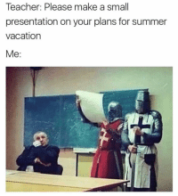 Memes, Teacher, and Summer: Teacher: Please make a small  presentation on your plans for summer  vacation  Me: First we take back the holy city. @historyinmemes