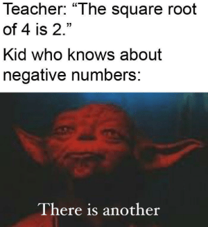 "Smaller in number we are, but larger in mind.: Teacher: ""The square root  of 4 is 2.""  Kid who knows about  negative numbers:  There is another Smaller in number we are, but larger in mind."