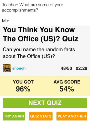 Should I be proud or disappointed?: Teacher: What are some of your  accomplishments?  Me:  You Think You Know  The Office (US)? Quiz  Can you name the random facts  about The Office (US)?  48/50 02:28  enough  Breaking  YOU GOT  AVG SCORE  96%  54%  NEXT QUIZ  QUIZ STATS  TRY AGAIN  PLAY ANOTHER Should I be proud or disappointed?