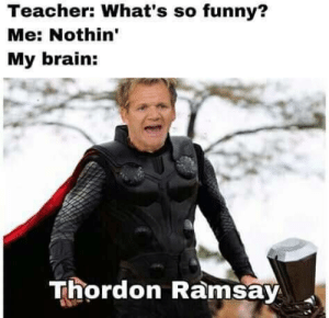 Funny, Teacher, and Brain: Teacher: What's so funny?  Me: Nothin'  My brain:  Thordon Ramsay Bring me the Lamb Sauce!