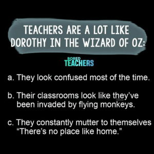 "The similarities are uncanny!: TEACHERS ARE A LOT LIKE  DOROTHY IN THE WIZARD OF OZ  BORED  TEACHERS  They look confused most of the time.  а.  b. Their classrooms look like they've  been invaded by flying monkeys.  TEACHERS  They constantly mutter to themselves  ""There's no place like home.""  С. The similarities are uncanny!"