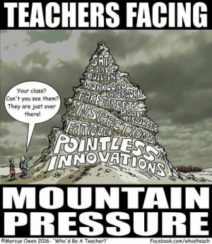 30 Teacher Cartoons That'll Have You Laughing & Crying at the Same Tim – Bored Teachers: TEACHERS FACING  SATS  STAFF  BULLYING  WORKLOAD  AERWORK  FAKETARGETS  Your class?  TNSPECTIONS  FATICUE  POINTLESS  INNOVATIONS  Can't you see them?  They are just over  there!  POOR  RESOURGES  MOUNTAIN  PRESSURE  Facebook.com/whodteach  Marcus Owen 2016- Who'd Be A Teacher? 30 Teacher Cartoons That'll Have You Laughing & Crying at the Same Tim – Bored Teachers