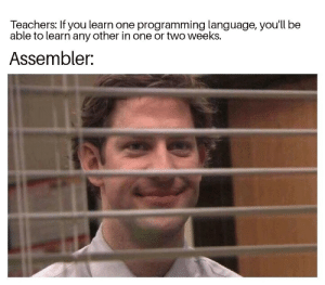 Programming, Language, and One: Teachers: If you learn one programming language, you'll be  able to learn any other in one or two weeks.  Assembler: Assembler is the only real language