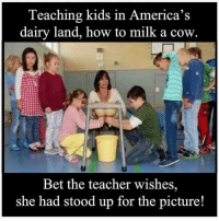 Teacher: Teaching kids in America's  dairy land, how to milk a cow  Bet the teacher wishes,  she had stood up for the picture!