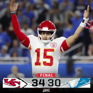 FINAL: The @Chiefs cap off a THRILLER in Detroit!  #KCvsDET https://t.co/1SxIPCY7h8: TEAK  15  FINAL  34 30 FINAL: The @Chiefs cap off a THRILLER in Detroit!  #KCvsDET https://t.co/1SxIPCY7h8