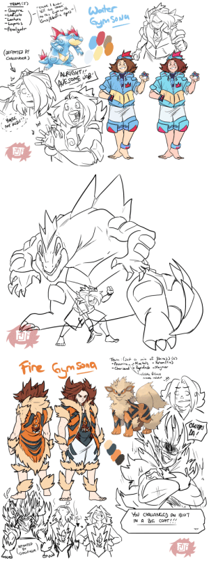 "fujifingerz:  So I saw people were making Pokemon ""Gymsona's"" ???YOU KNOW i'd be that barefoot water gym leader with them multi water types~!and if i had to choose i'd want fire as an option also even tho the multi types are always just even MORE weak to water. But fire types LOOK DOPE!: TEAM (5)  Quogine  Ludicolo  cause know  ell are coMin  Gym with  Grass/Elecfric tpes""
