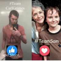 Memes, News, and The Walking Dead: Team  Carl Grimes  and Share  Team Sam Either way, #TheWalkingDead fans, please VOTE today! :) (y)  http://www.egvoproductions.com/news-blog/the-walking-dead-season-7-premiere-the-day-will-come-when-you-wont-be-on-amc-10-23-2016