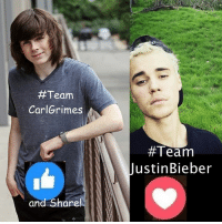 #Team  CarlGrimes  and Share!  #Team  Justin Bieber I have almost 226,000 of you on this #TWDFamily page. #TheWalkingDead fans, it would be great if you guys could hit the LIKE button and VOTE for Chandler Riggs today. :) (y)  Photo credit: Elliot Van Orman Productions