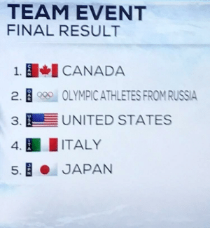 Dank, Memes, and Reddit: TEAM EVENT  FINAL RESULT  CANADA  1.  2.B  OLYMPIC ATHLETES FROM RUSSIA  UNITED STATES  3.  ITALY  4-  JAPAN  5.  0AR  USA  ITA  PN They couldn't just stop at Russia by DasLead FOLLOW 4 MORE MEMES.