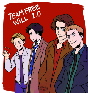 hellredsky: Not sure I will be able to post the #weeklySPN drawing tonight so here is a team free will 2.0 for you guys! also in redbubble  : TEAM FREE  WILL 2.0  0  ut2017 hellredsky: Not sure I will be able to post the #weeklySPN drawing tonight so here is a team free will 2.0 for you guys! also in redbubble