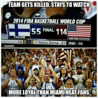 Finland vs. Miami Heat Fans! Credit: John Lopez: TEAM GETS KILLED, STAYS TO WATCH  2014 FIBA BASNETRALL WORLD CUP  55 FINAL  114  FINLAND  UNITED STATES  17 Notre Dame 21 2ND :05  @NBAMEMES  MORE LOYALTHAN MIAMI HEAT FANS Finland vs. Miami Heat Fans! Credit: John Lopez