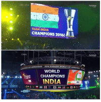 Memes, India, and World: TEAM INDIA  CHAMPIONS 2016!  FI  ROND CUP AHMEDABAD  2016 KABADDI WORLD CUPAMMED  Alao  WORLD  CHAMPIONS  INDIA  3829 Salute to the Boys for making the whole nation Proud once again :)