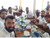 Memes, India, and 🤖: Team India in a restaurent in Sri Lanka.