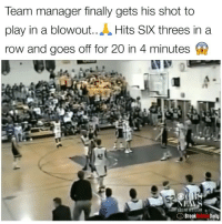 I love story's like this🙌 . @breakanklesdaily: Team manager finally gets his shot to  play in a blowout..A Hits SIX threes in a  row and goes off for 20 in 4 minutes  Breaknko Daily I love story's like this🙌 . @breakanklesdaily