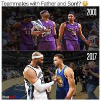 Memes, Warriors, and 🤖: Teammates with Father and Son!?  2001  on  ORON  30  20  2017  @BreakAnklesDaily Reports say Vince Carter would be willing to take a pay cut to join the Warriors.... Teammates w- Father and Son 💯