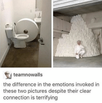 Creepy, Memes, and Happy: teamnowalls  the difference in the emotions invoked in  these two pictures despite their clear  connection is terrifying i get a very ominous vibe from the left one, and a creepy sinister yet happy vibe from the right one —sara