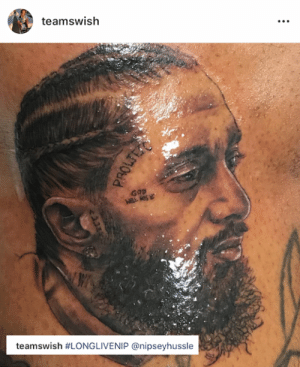 Ass, Smiths, and New: teamswish  GaD  ASs  teamsw.sh #LONGLIVENIP @nipseyhussle JR Smith's new ink in honor of Nipsey 🙏