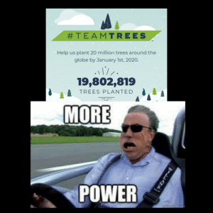 Final sprint!:  #TEAMTREES  Help us plant 20 million trees around the  globe by January 1st, 2020.  19,802,819  TREES PLANTED  MORE  POWER  WILLANS Final sprint!